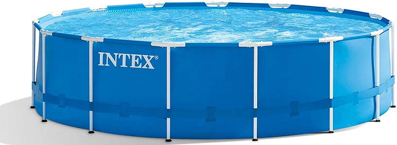 Intex 28241EH 15ft × 48in Metal Frame Outdoor Above The Ground Swimming Pool Set